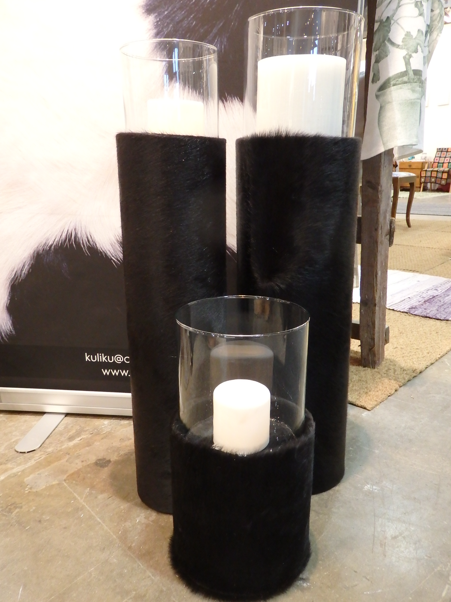 My candle holders in Norwegian calf