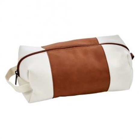 DOPP Travel Kit Canvas and Caramel Leatherette Bag