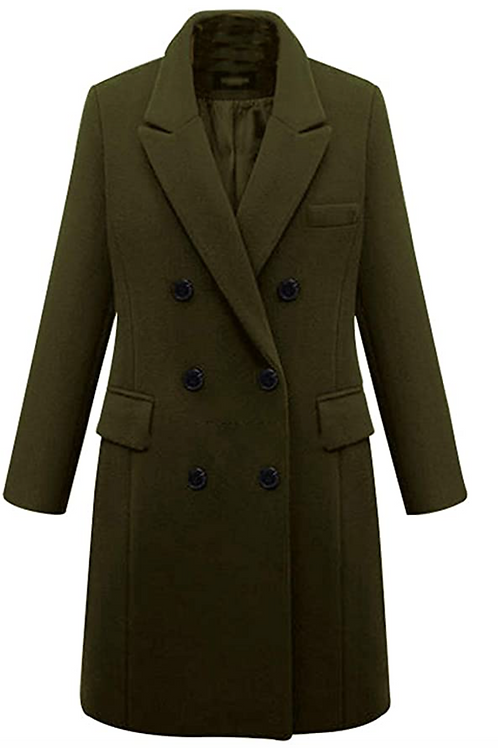 Porter Women's Double Breasted (Army Green) Wool Pea Coat