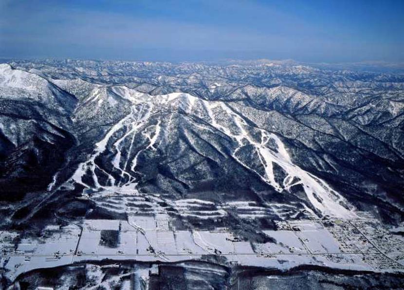 Furano Ski mountain aerial view of ski slopes