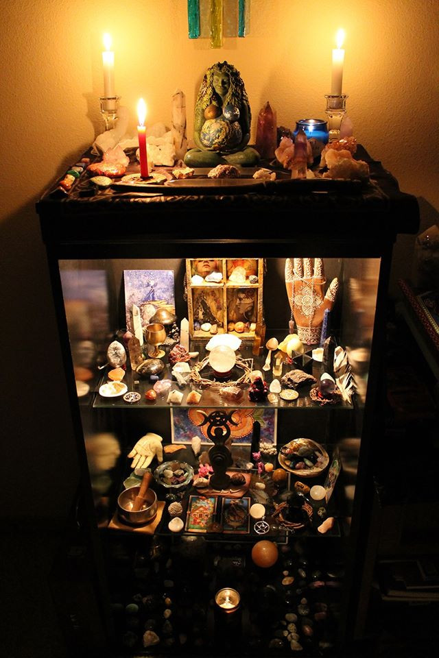 My altar with way too many crystals on it