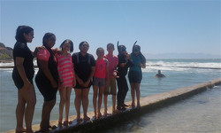 Youngsters getting ready for a snorkelling expedition
