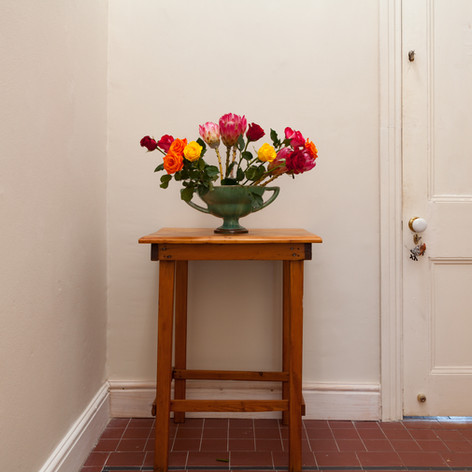 Entrance hall with roses and dog.jpg