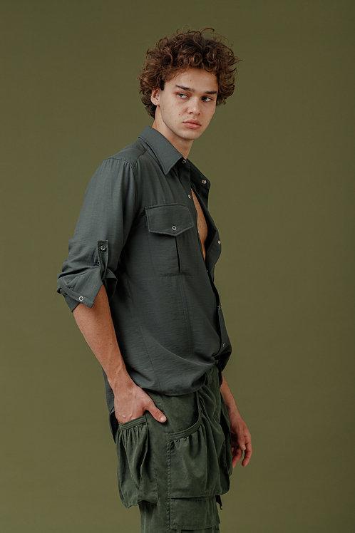 Camisa ML SBSCO bolso cargo verde.
