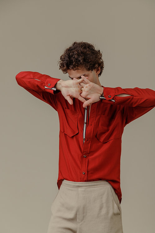 Camisa ML SBSCO Maxi bolso algodão seda cerâmica.