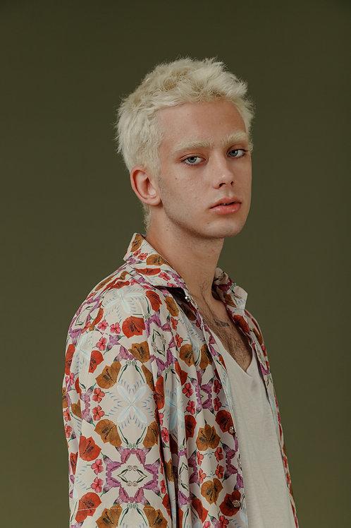 Camisa SBSCO ampla estampa Xadrez Floral