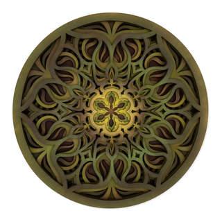 Boundless Flower - Mandala Art Green Gold