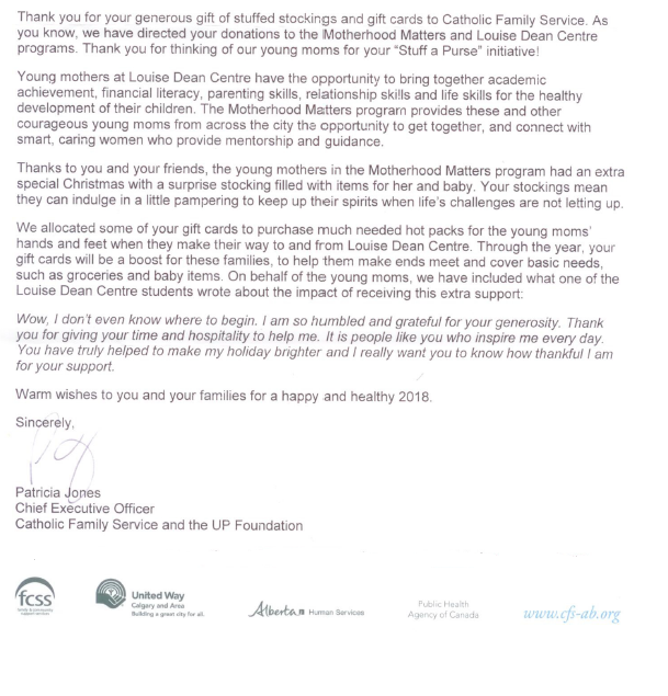 Stuff a purse project cwie 2017 christmas charity campaign you from the louise dean center as well thanking everyone for their contributions and enthusiasm for the campaign see below for the thank you letter expocarfo Gallery