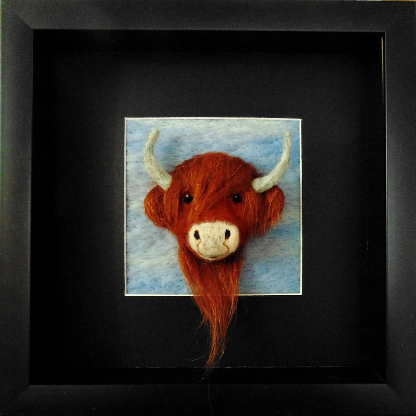 NEEDLE FELTED HIGHLAND COW FRAMED PICTURE
