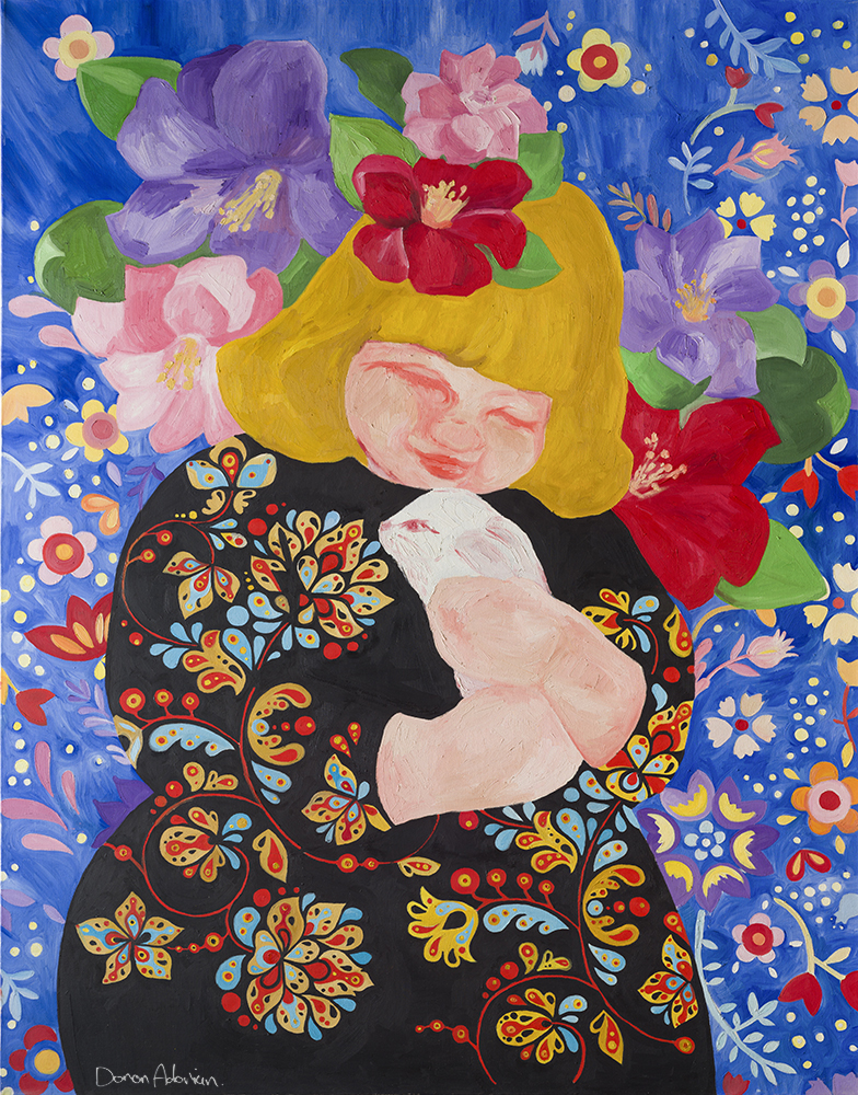 A girl with a rabbit By Doron Adorian