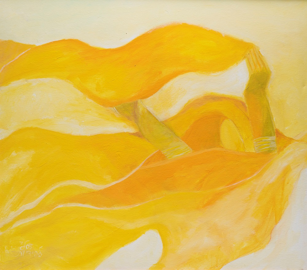 Composition with a yellow scarf