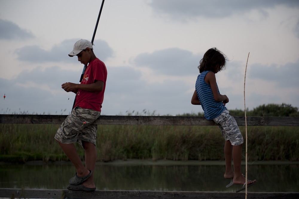 Two boys fishing in Jazar a Zarka