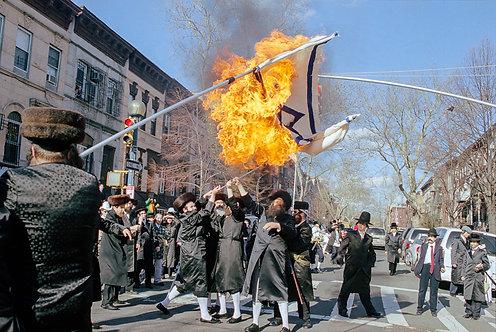 New York, Burning of the Israeli flag #7  By Jacob Elbaz