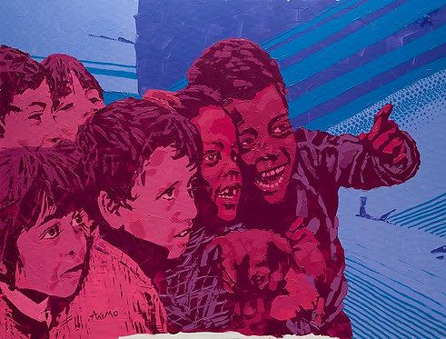 Loughing kids #1 by  Moshe Ben Avraham
