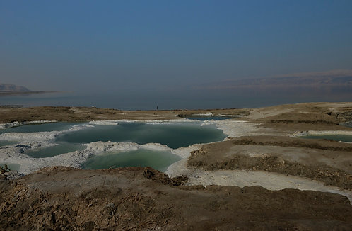 Salt ponds in the Dead Sea
