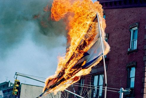 New York, Burning of the Israeli flag #5  By Jacob Elbaz