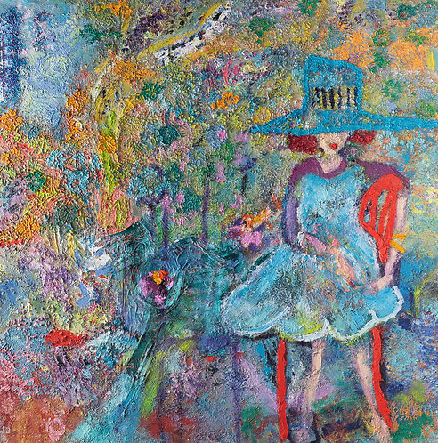 A lady with a blue hat By Miri Eitan Sadeh