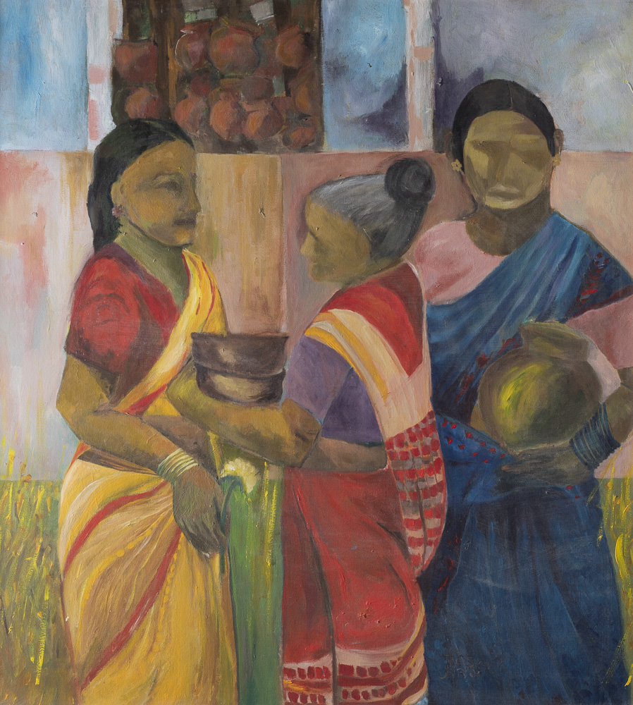 Indian women, behind
