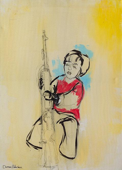 A child with a gun by  Doron Adorian