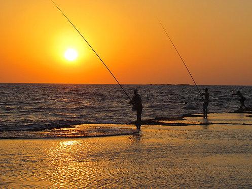 Fishermen on Rosh Hanikra Beach
