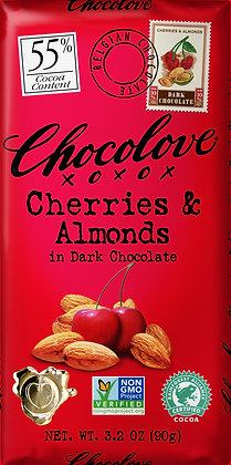 CHOCOLOVE, Cherries and Almonds Dark Chocolate Bar