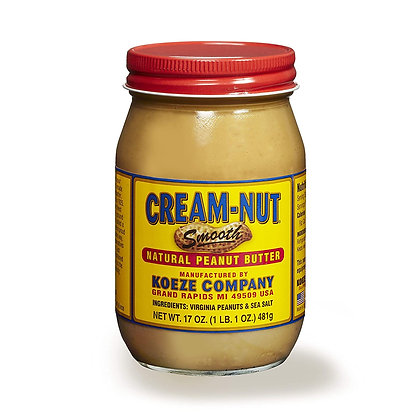 CREAM-NUT, Smooth 100% Natural Peanut Butter
