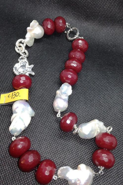 Collana in Agata Rossa e Perle Scaramazza