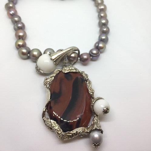 Collana Ossidiana Rossa, Perle e Argento 925