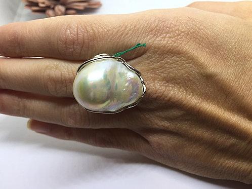 Anello Perla Barocca ed Argento 925