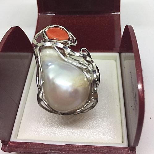 Anello Argento 925 con Perla Barocca e Corallo