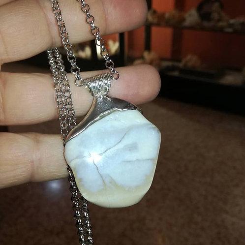 Ciondolo in Opale Bianco e Argento