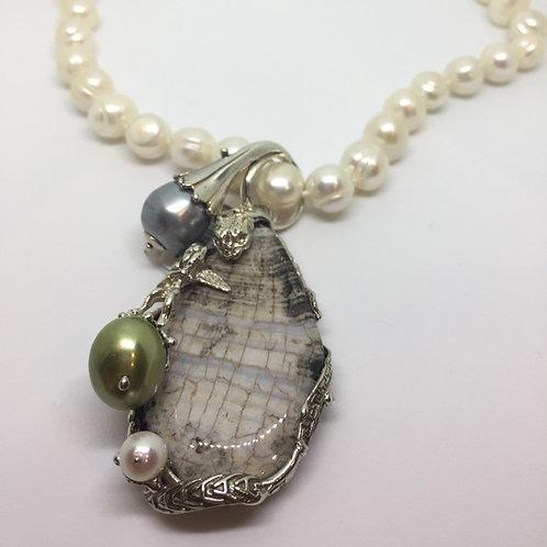 Ciondolo in Agata  ,Perle e Argento 925