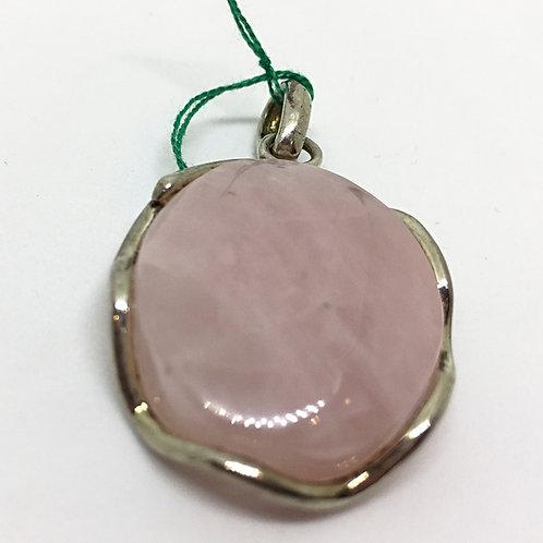 Ciondolo Quarzo Rosa e Argento