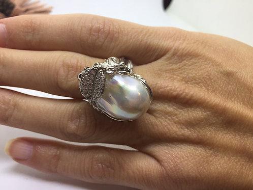 Anello Argento 925 con Perla Barocca.