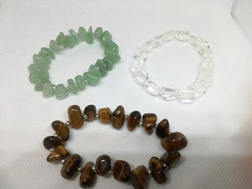 Bracciali elastici in Occhio di Tigre, Avventurina Verde e Cristallo di Rocca