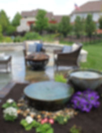 Spillway Bowls next to outdoor living space.