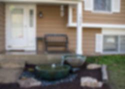 Spillway Bowls next to porch.