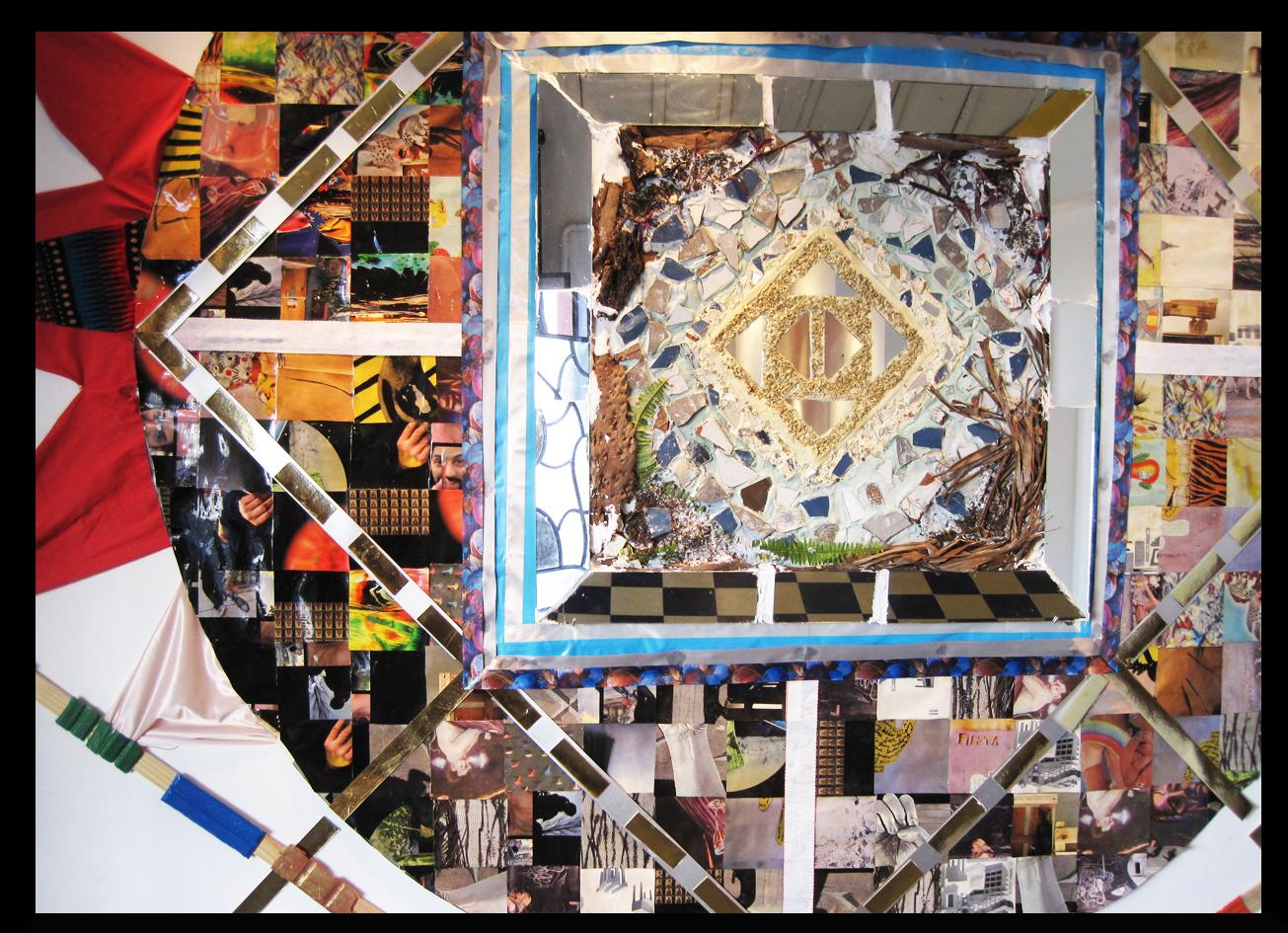 detail mixed media installation