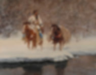 Native American walking his pack horse across a snowy river.