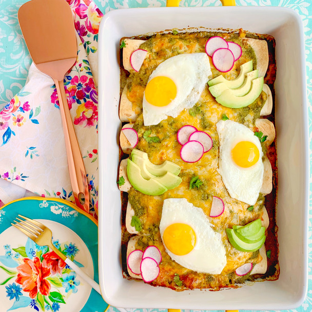Bean and Cheese Breakfast Enchiladas with Poblano Sauce