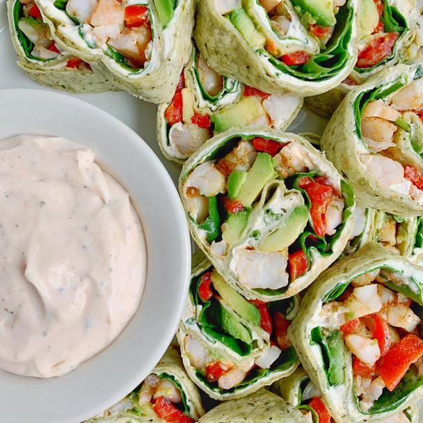 Cajun Shrimp and Avocado Pinwheels