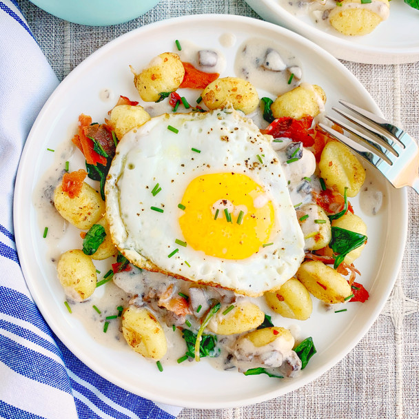 Breakfast Gnocchi with Mushroom Gravy