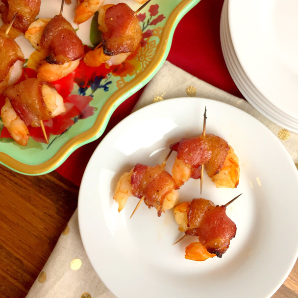 Sweet and Spicy Bacon Wrapped Shrimp