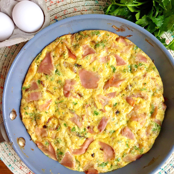 Prosciutto, Caramelized Onion, and Truffle Cheese Frittata
