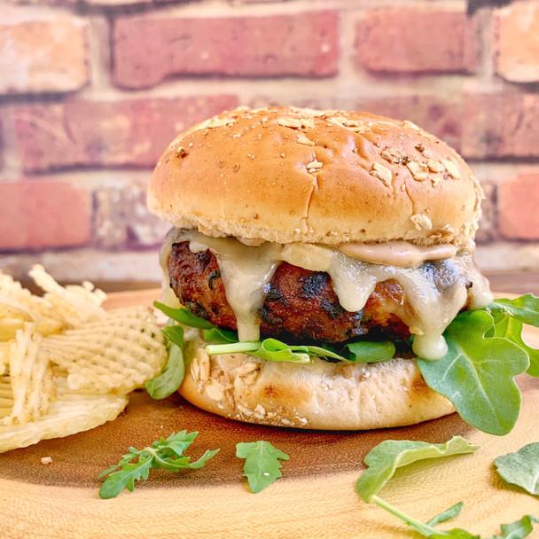 Mushroom and Spinach Turkey Burger with Balsamic Mayo