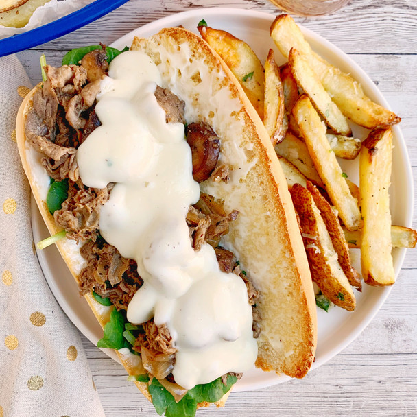 Cheesesteak with Truffle Cheese Sauce