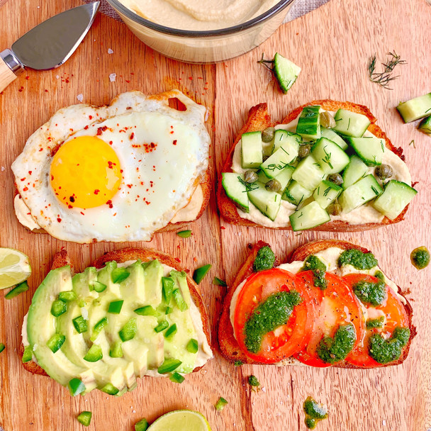 Hummus Toast 4 Ways
