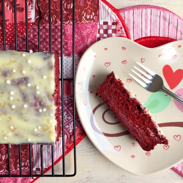 Red Velvet Banana Bread with White Chocolate Cream Cheese Glaze