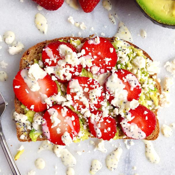 Strawberry Avocado Toast with Lemon Poppyseed Drizzle