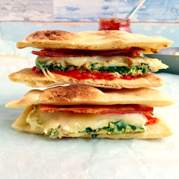 Spinach and Egg White Flatbread Sandwich